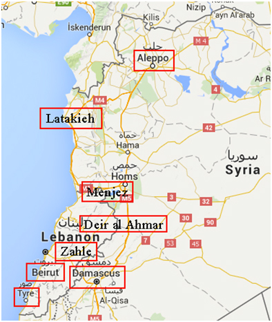 Mappa del Libano