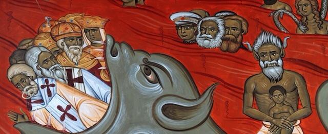Affresco, opera di anonimo, nella chiesa della «Resurrezione di Cristo» di Podgorica che mostra il maresciallo Tito che brucia tra le fiamme dell'inferno insieme a Karl Marx e Friedrich Engels.